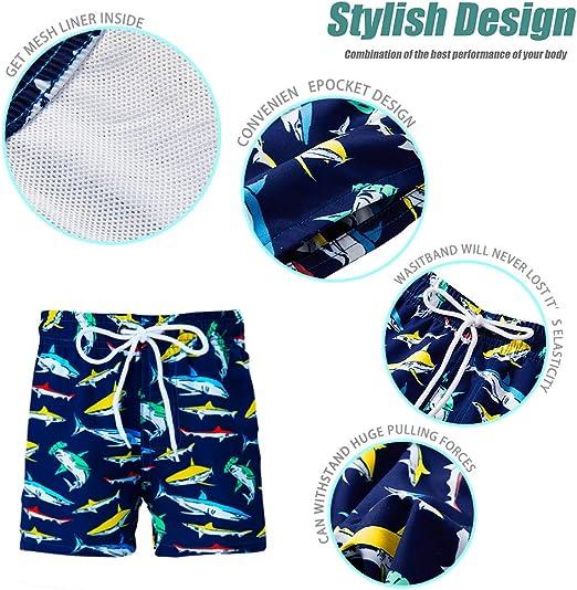 Funnycokid Bambino Nuotare Pantaloncini Stampato Divertente Quick Dry Costumi da Bagno Bambini Board Tronchi 5-14 Anni