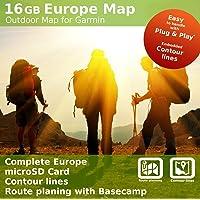 Europa Topo al aire libre mapa – Tarjeta microSD de 16 GB compatible con Garmin Oregon 600, 600T, 650, 650t, 700, 750…