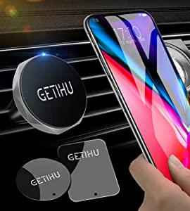 GETIHU Car Phone Mount Universal Air Vent Magnetic Cell Phone Holder for iPhone X 8 7 6s 6 5s 5 Plus Samsung HTC Motorola BlackBerry Smartphone GPS Stand(Silver)