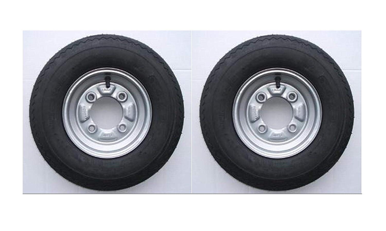 1 par de ruedas completas para remolque (400 x 8 pulgadas) - Neumáticos de 4 capas y diámetro primitivo de 115 mm - N.º de pieza Erde y Daxara:LMX1598: ...