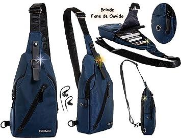 509088a9d Mini Mochila masculina Esportiva Resistente Transversal Entrada Fone de  Ouvido + Fone De Ouvido (Azul