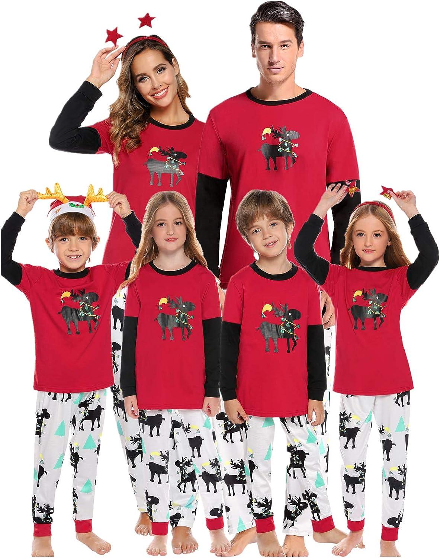 Moose Christmas Parent-child Family Pajamas Set Xmas Adult Sleepwear Nightwear