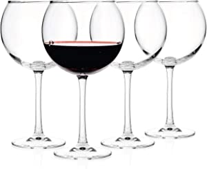 Luxbe - Crystal Wine Balloon Glasses 20-ounce, Set of 4 - Large Handcrafted Red White Wines Glass - Crystal Glass - Professional Wine Tasting - Burgundy - Pinot Noir - Bordeaux - 600ml