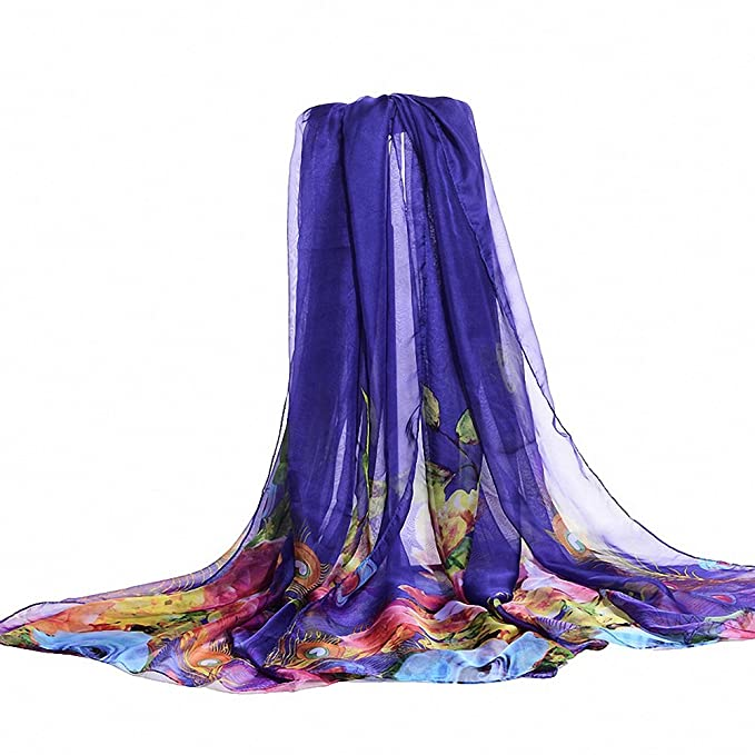 6306110807 Lictory Peacock Feather Floral Sarong Pareo Beach Wrap Swimsuit Coverup  Fashion Design blue