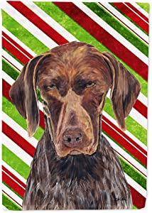 Caroline's Treasures SC9355GF German Shorthaired Pointer Candy Cane Holiday Christmas Flag Garden Size, Small, Multicolor
