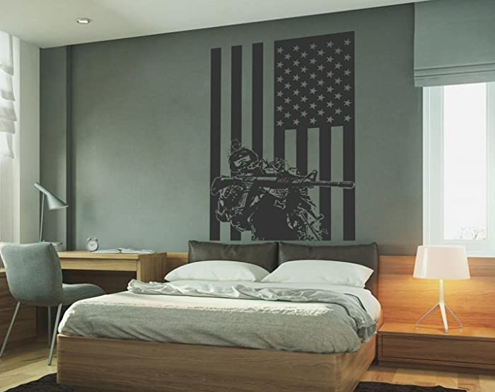 STICKERSFORLIFE ik732 Wall Decal Sticker Army Soldier Military Weapons American Flag Vest Room