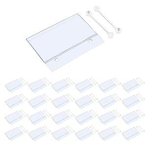 BCP 25PCS Clear Color Plastic Shelves Wire Shelf Price Label Holder Merchandise Sign Display Holder