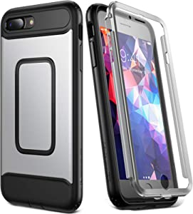 YOUMAKER Case for iPhone 8 Plus & iPhone 7 Plus, Full Body with Built-in Screen Protector Heavy Duty Protection Shockproof Slim Fit Cover for Apple iPhone 8 Plus (2017) 5.5 Inch - Silver