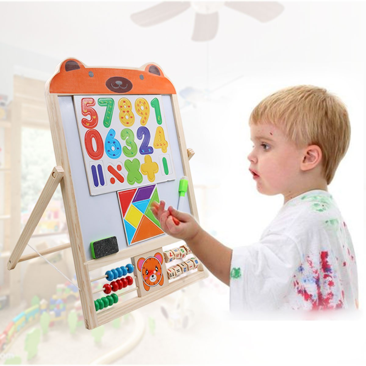 Yuhebaby Standing Art Easel for Kids, Wooden Tabletop Easel for Painting, Foldbale Double Sided Whiteboard /& Chalkboard with Dry Erase Markers, Magnetic Shapes, Numbers/(Bear/)
