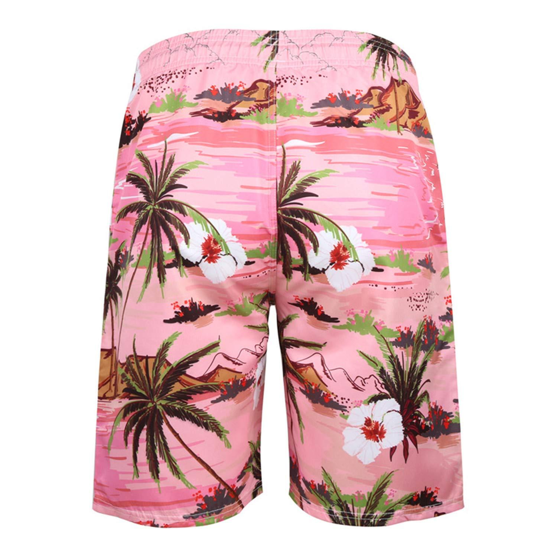 RTGSE Mens Cool 3D Printed Casual Hawaiian Mesh Lining Beach Board Shorts with Pockets S-5XL