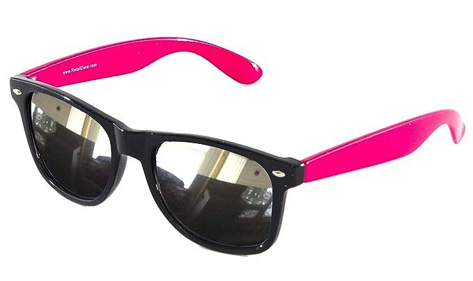RetailZone Gafas de sol Wayfarer con marco negro y espejo ...