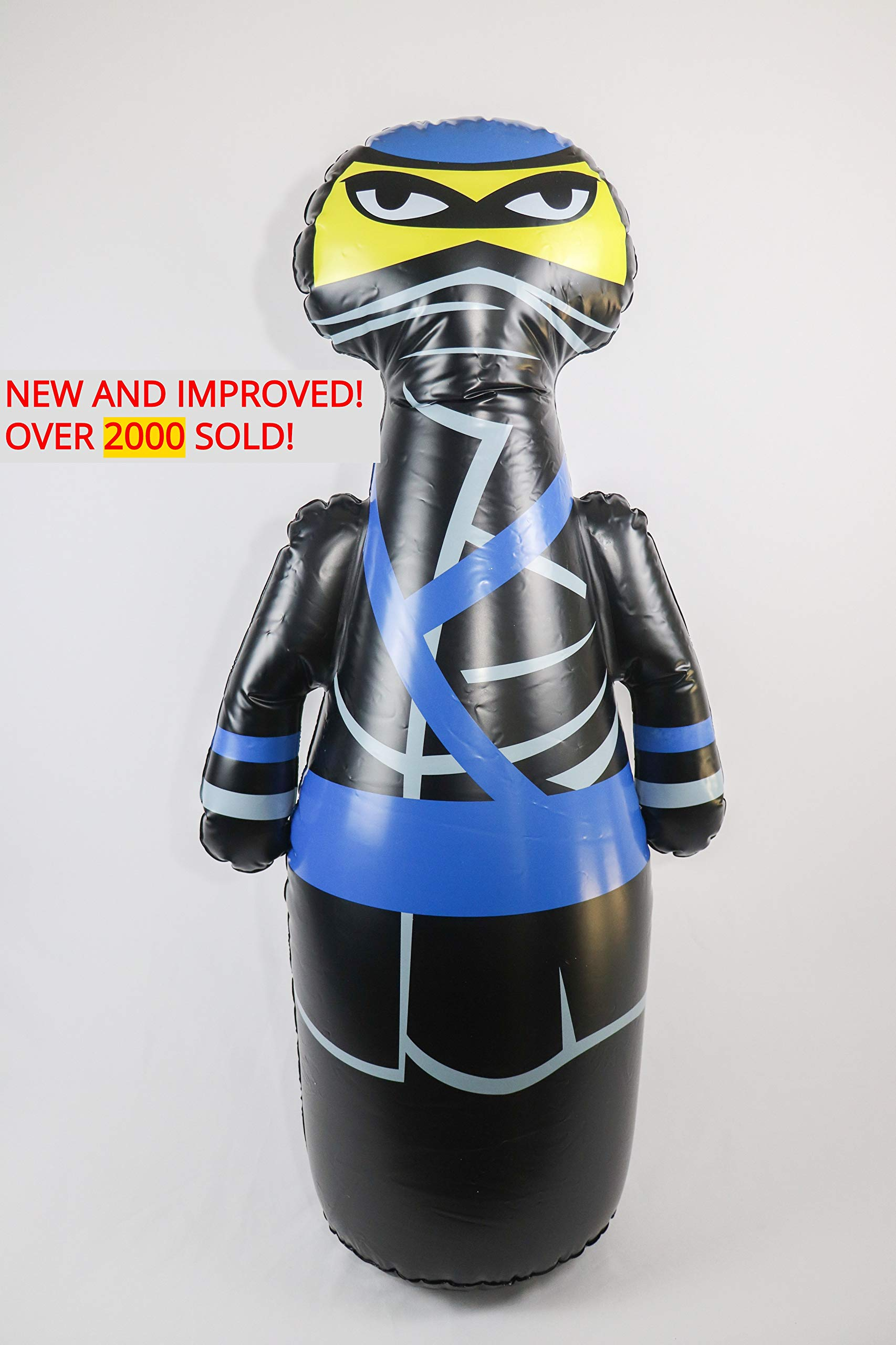 J&A's Inflatable Dudes Ninja 47 Inches - Bop Bag   Kids Punching Bag   Inflatable Toy   Boxing - Premium Vinyl- Comes with Sand-Filled Base for Bounce-Back Action! Weighted Bottom