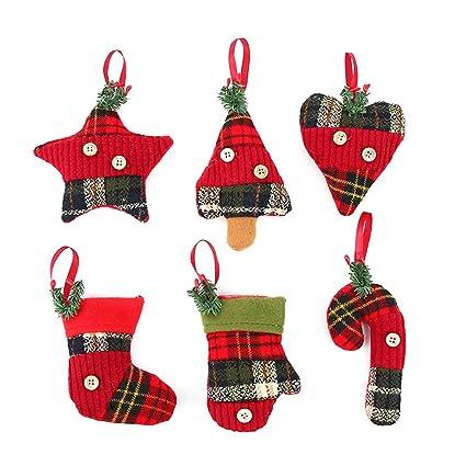 Immagini Decorazioni Di Natale.Tinksky Ornamento D Attaccatura Per Decorazioni Di Albero Di Natale Per Decorazione Natalizia Regalo Di Compleanno Di Natale Per I Bambini 6 Pezzi