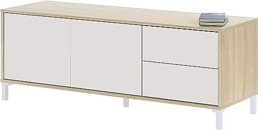 Habitdesign 016622F - Modulo de TV, Modelo Brooklyn, Roble Canadian y Blanco Artik, Medidas: 130 cm (Ancho) x 47 cm (Alto) x 41 cm (Fondo): Amazon.es: Juguetes y juegos