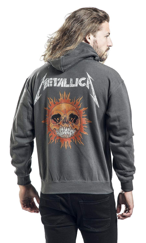 Metallica Flaming Skull Sudadera con Capucha Gris Marengo S: Amazon.es: Ropa y accesorios