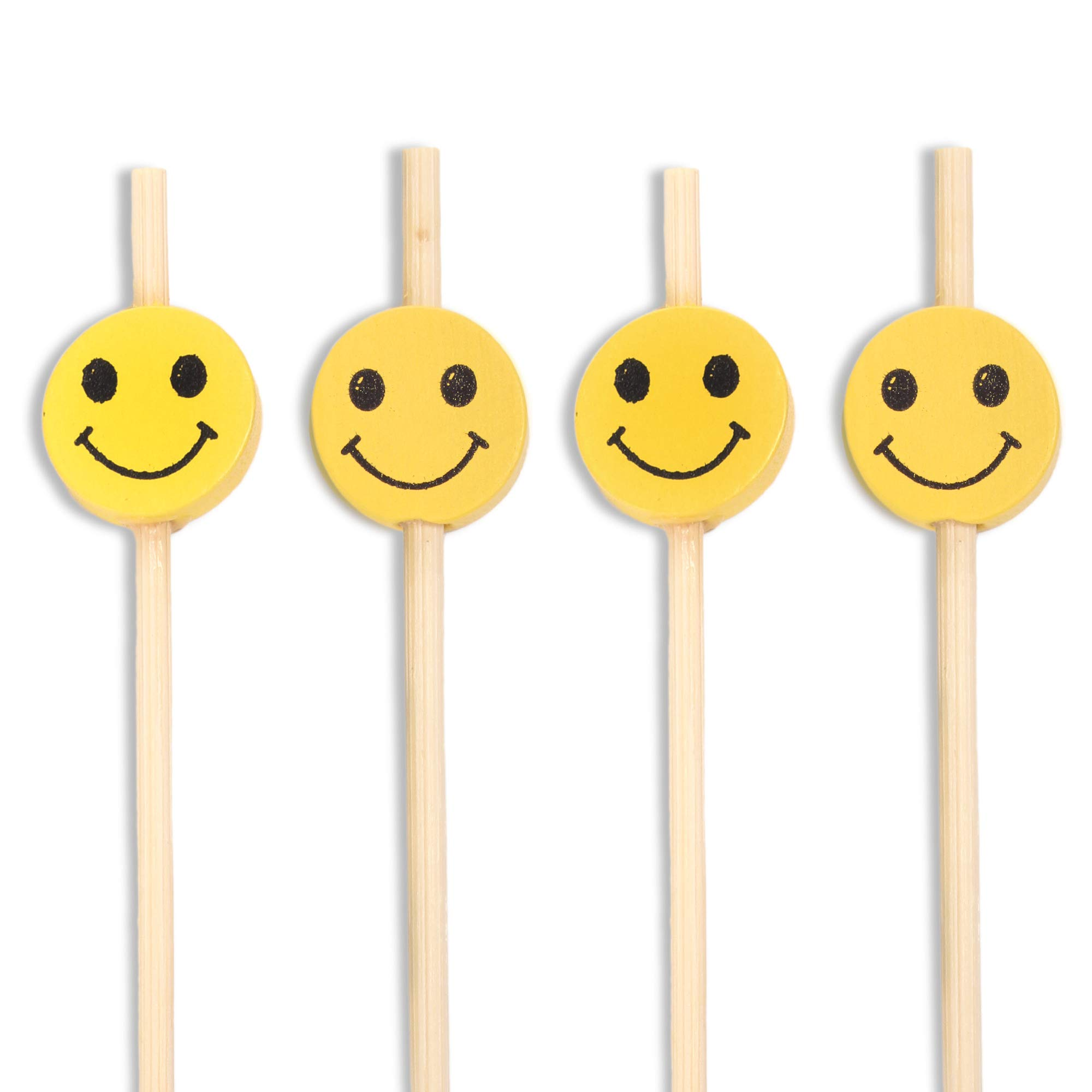 BambooMN 4'' Decorative Premium Bamboo Smiley Face Cocktail Sandwich Fruit Skewer Pick, 1,000 Pieces
