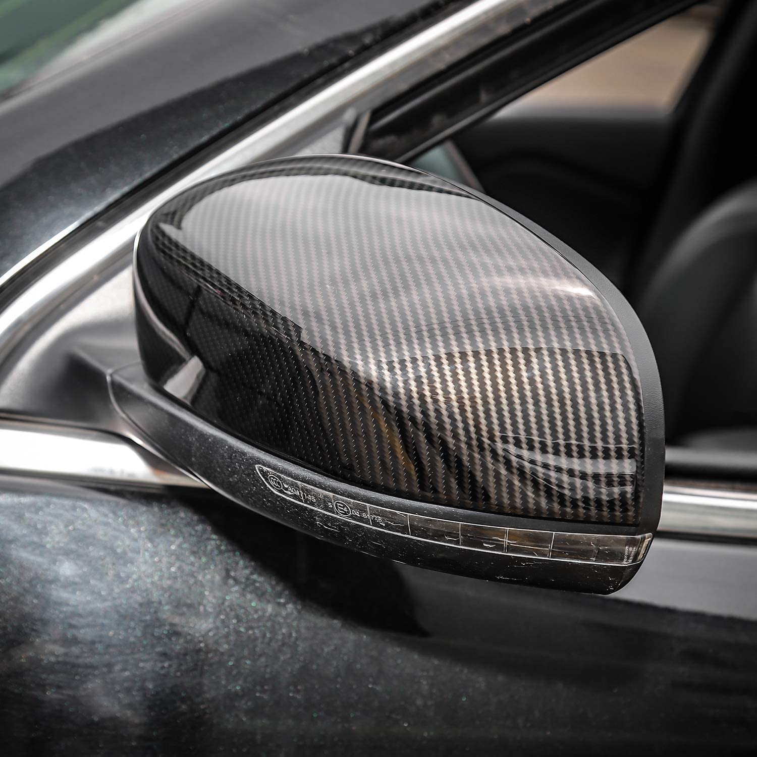 Carbon Fiber Texture JeCar Side Mirrors Cover Carbon Fiber ABS Rearview Mirrors Trim for 2014-2019 Jeep Cherokee /& 2017-2019 Jeep Compass