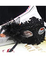 Tinksky Fleur de Lys cristal strass Decor dentelle vénitien masque de mode pour Halloween /Masquerade/Costume Party (noir)