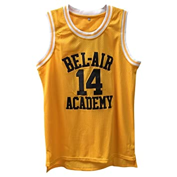 hot sale online 455ff e62cc Fresh Prince Retro Basketball Jersey Will Smith Bel-Air Basketball Shirts  #14 Yellow Black Hip Hop Throwback Jersey
