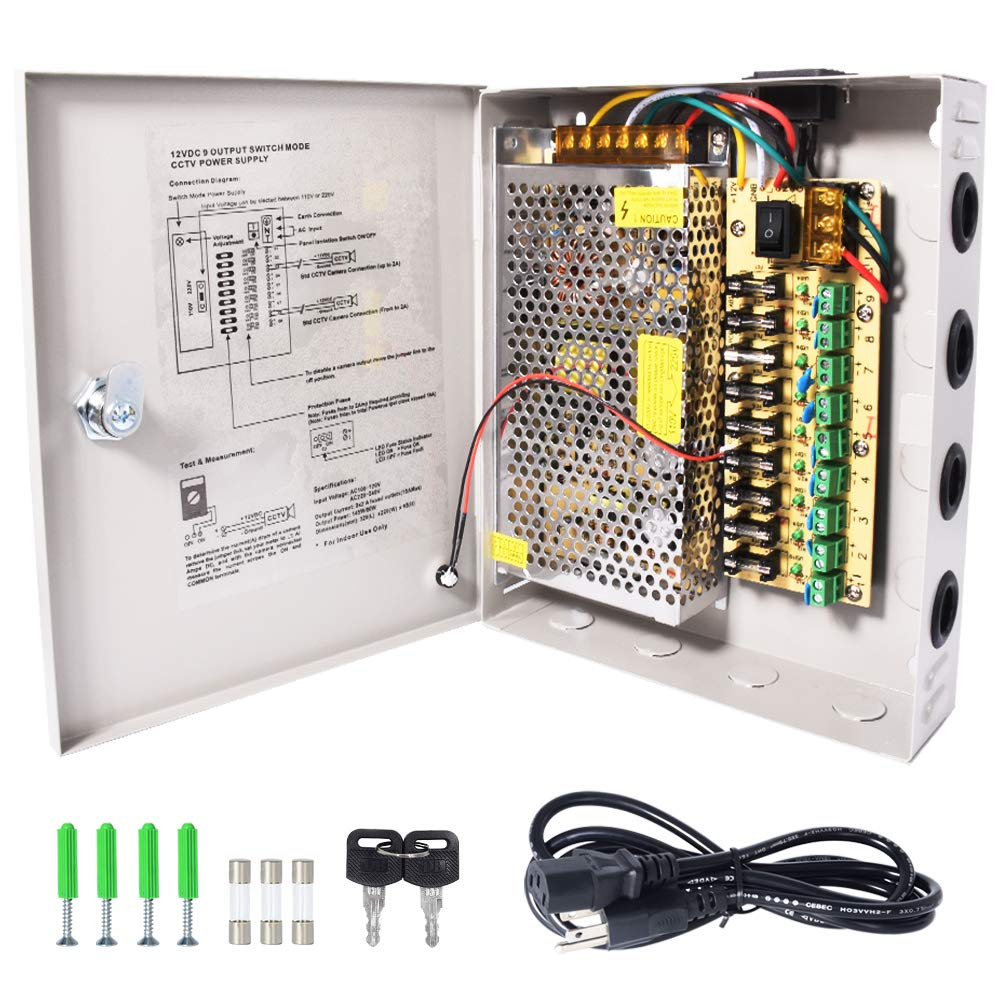 CCTV Power Supply Box LETOUR 9 Channel Port Output 12V 12.5A 150W Fuse on