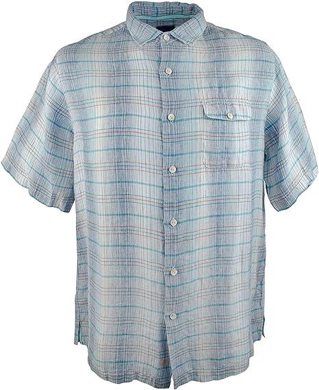 Tommy Bahama Big /& Tall Tamuda Bay Plaid Camp Shirt