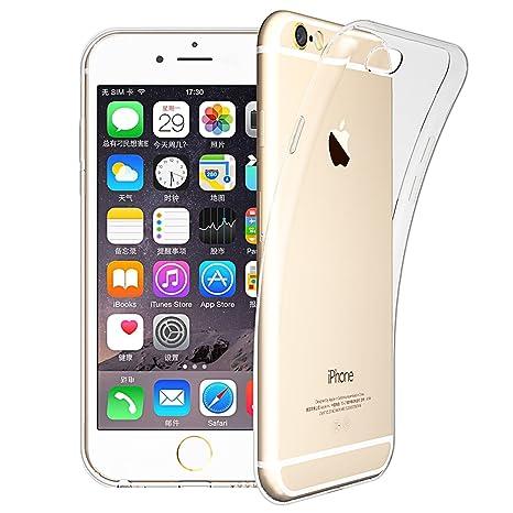 LIVHÒ | Funda iPhone 6 / 6s –Transparente – Carcasa Fina Slim Soft Thin, TPU Cover + Protector de pantalla en vidrio templado + Paño de limpieza