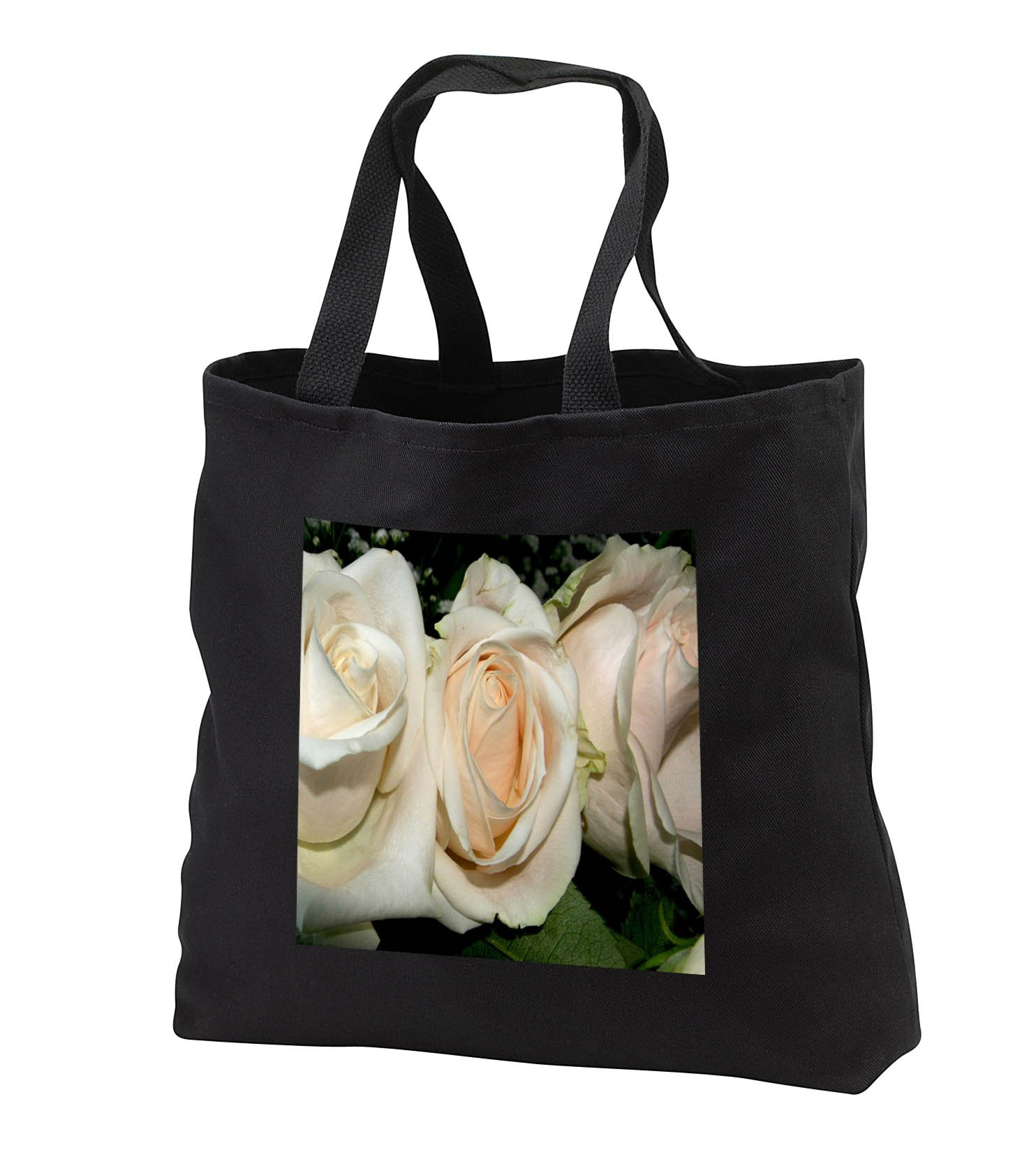 TDSwhite – Summer Seasonal Nature Photos - Floral White Wedding Roses - Tote Bags - Black Tote Bag 14w x 14h x 3d (tb_284578_1)