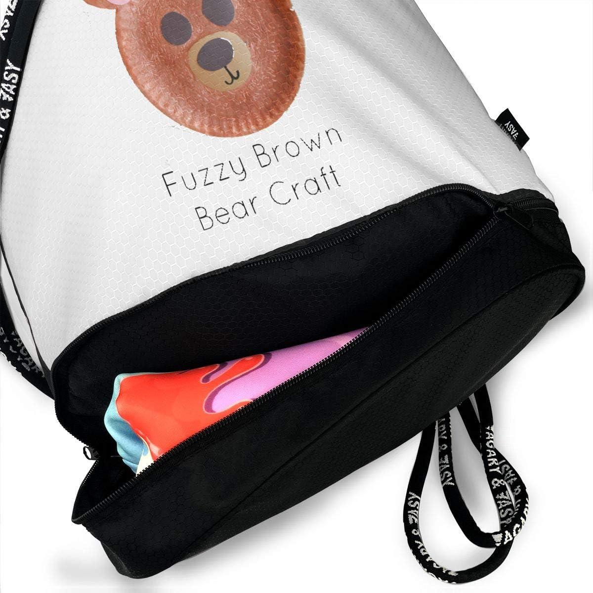 Brown Bear3 School Travel Laptop Bookbags Beam Mouth Sports Sackpack Rucksack Shoulder Bags For Men /& Women