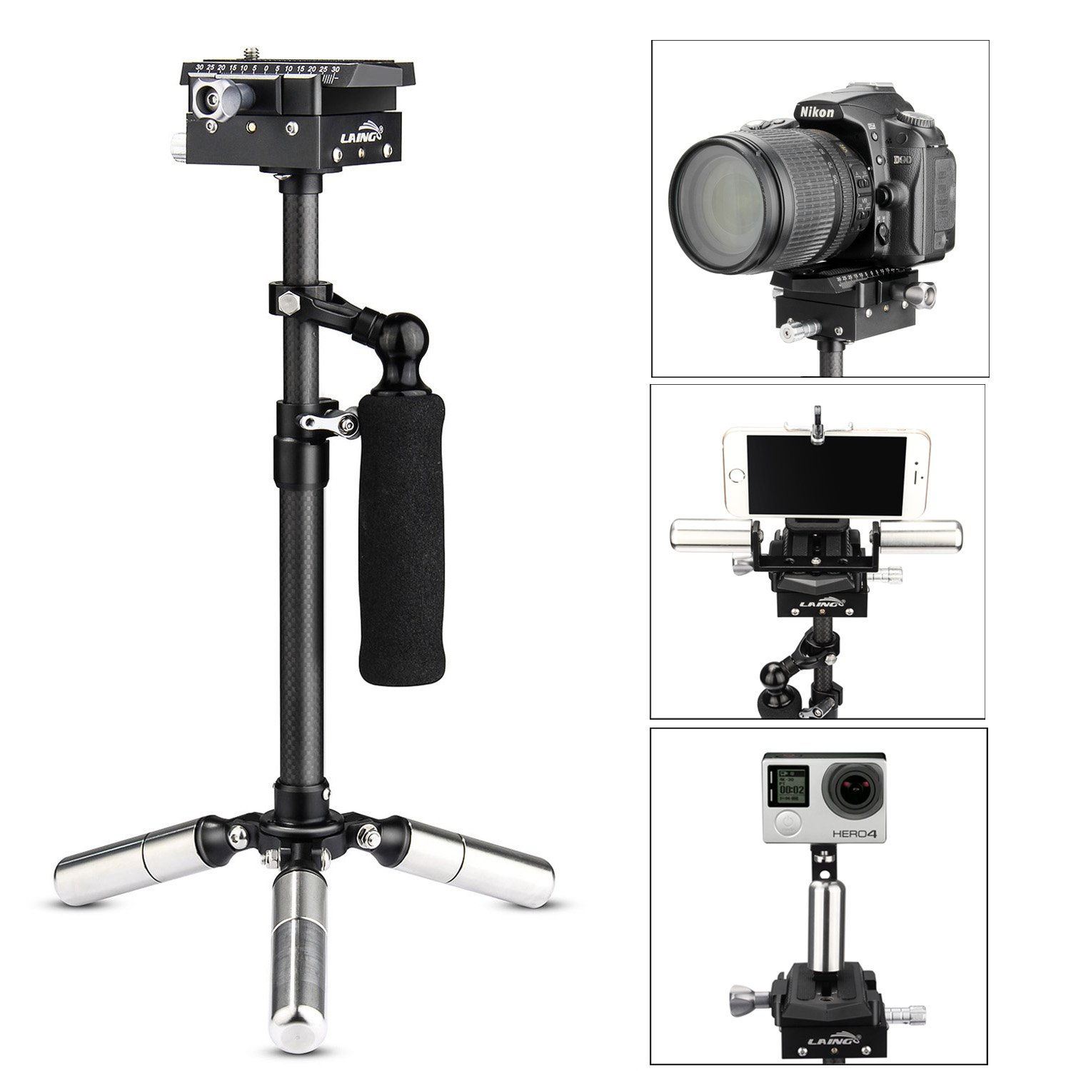LAING H5 Mini Carbon Fiber Handheld Stabilizer with 6.17lb//2.8kg Loading Capacity for DSLR Cameras Compact Cameras and DVS