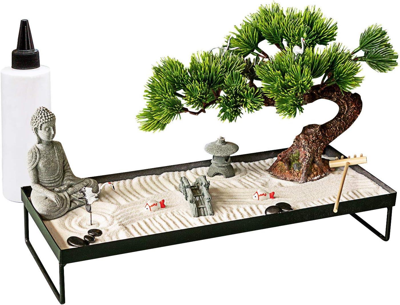Meditation Decoration Japanese Zen Garden – Home Office Bonsai Zen Garden Decor Zen Gifts for Women Man Friends – Tabletop Buddha Rock Sand Zen Garden for Table Desk