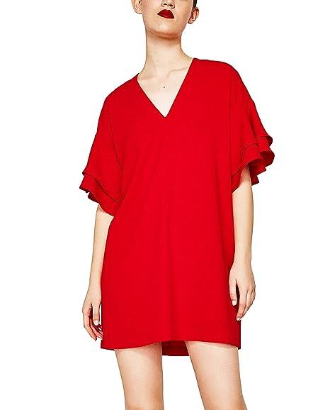 Zara - Vestido - para mujer rojo rosso Small: Amazon.es: Ropa y accesorios
