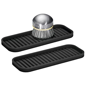 mDesign Silicone Kitchen Sink Storage Organizer Holder Tray for Sponges, Soaps, Scrubbers - Ribbed Base, Quick Drying, Waterproof, Non-Slip Durable - 2 Pack - Black