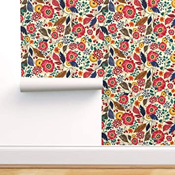 Retro Red Floral Removeable Wallpaper Peel and Stick Wallpaper Sticker REMOVABLE Repositionable Retro Re-positionable 50s Mid Century Modern