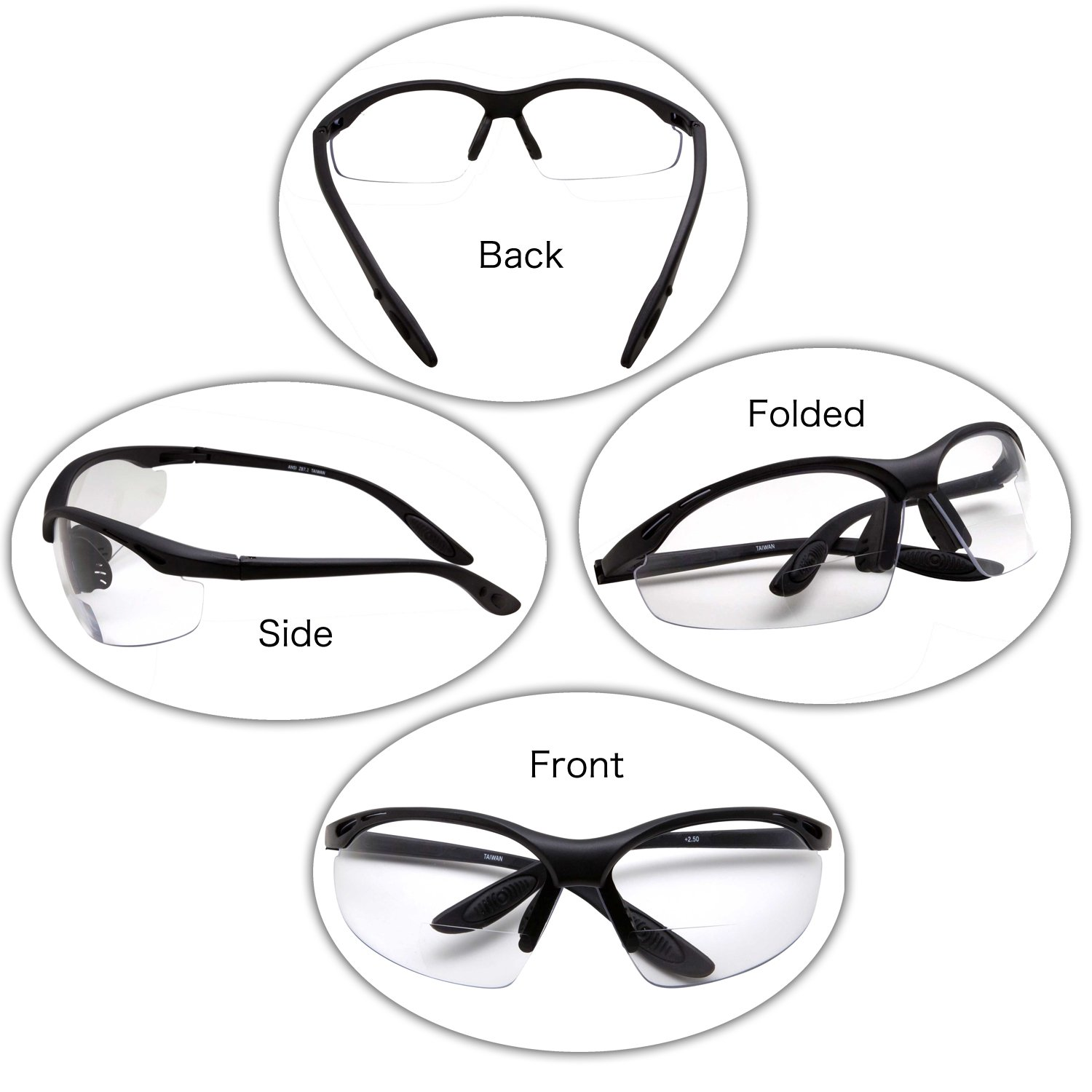 2 Pairs Bifocal Safety Glasses Clear Lens with Reading Corner - Non-Slip Rubber Grip Diopter/+2.00 by grinderPUNCH (Image #3)