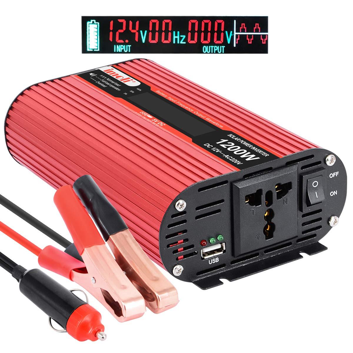 imoli 1200W/2400W Wechselrichter fü r Auto, DC 12V bis AC 220V Kfz-Konverter mit LCD-Display, 2 AC-Ausgä nge und USB-Ladeanschluss Backup-Stromversorgung Auto Ladegerä t Adapter IMO-LCD1200EU