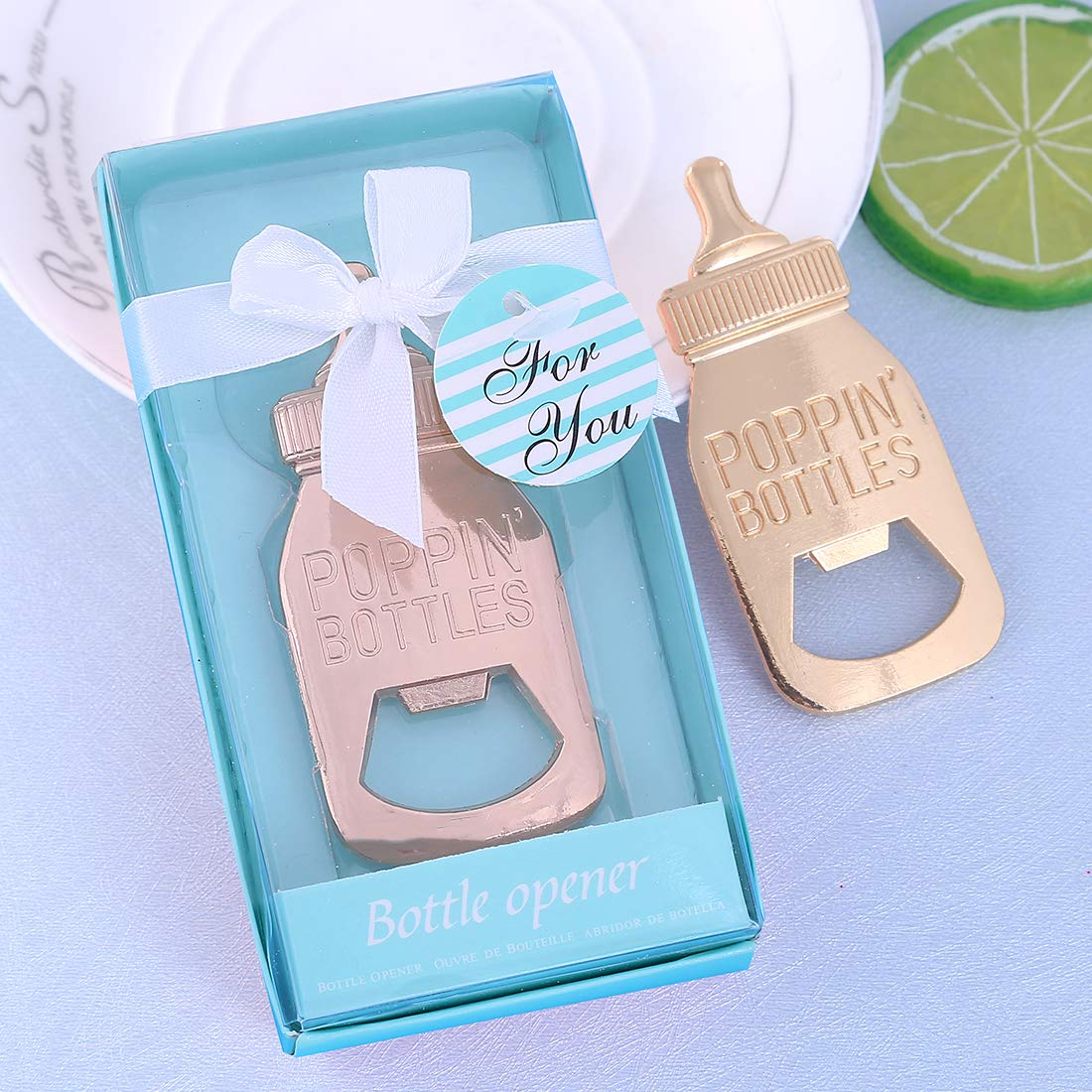 Yuokwer 24pcs Bottle Opener Baby Shower Favor for Guest,Rose Gold Feeding Bottle Opener Wedding Favors Baby Shower Giveaways Gift to Guest, Party Favors Gift & Party Decorations Supplies (Blue, 24)