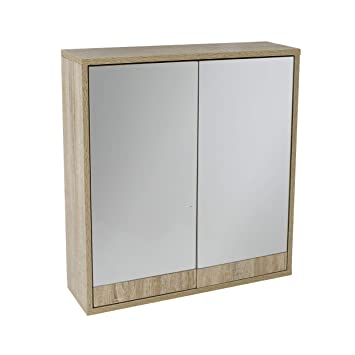 60H x 60W x 15D House /& Homestyle Double Mirrored Door Cabinet Brown
