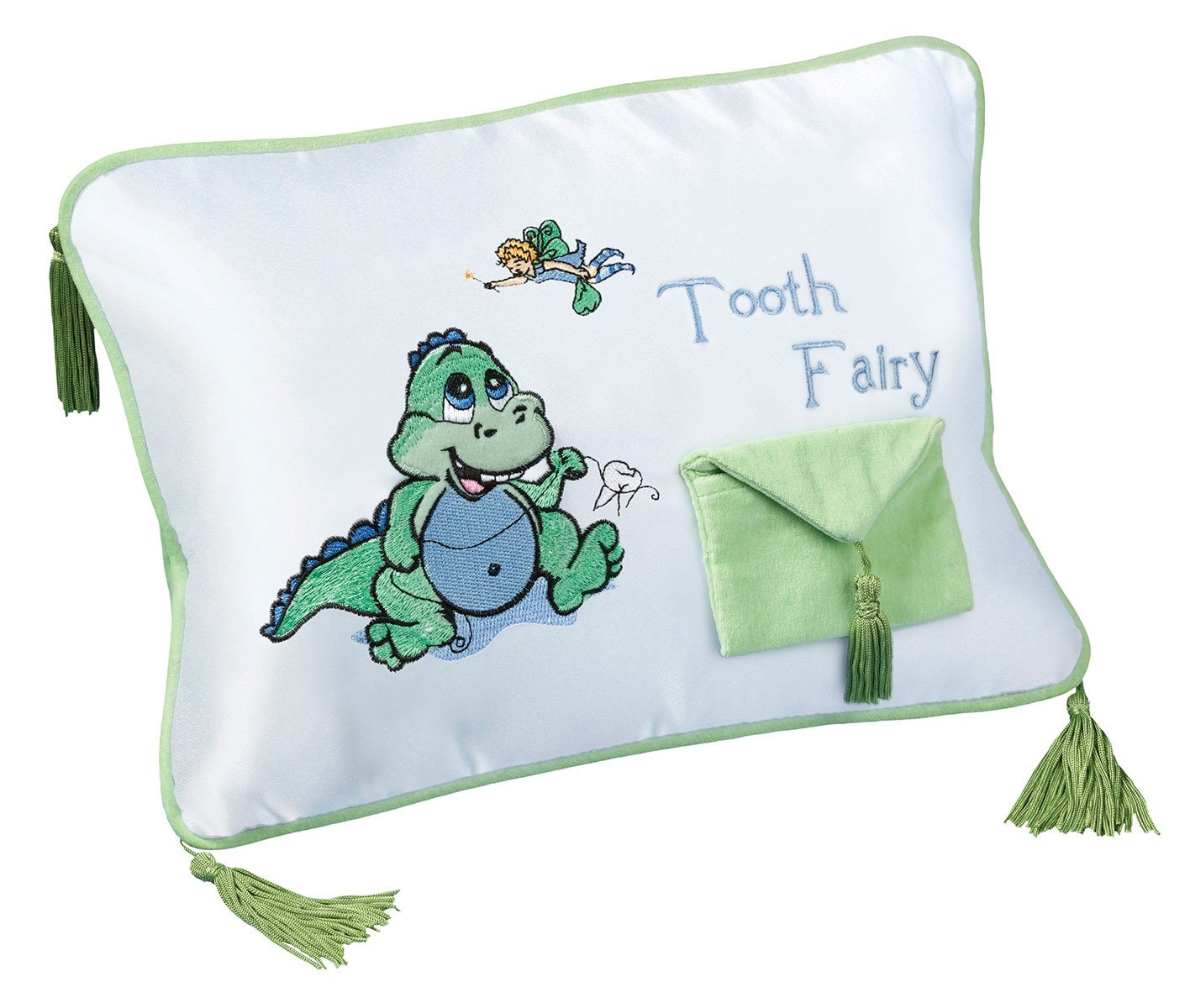 Lillian Rose Tooth Fairy Embroidered Pillow, Dinosaur, 12'' x 9''