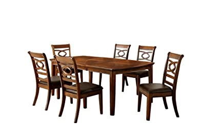 Fantastic Furniture Of America Reminson 7 Piece Dining Table Set With 18 Inch Expandable Leaf Brown Cherry Finish Customarchery Wood Chair Design Ideas Customarcherynet