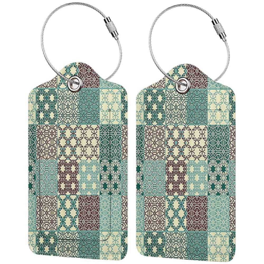 Waterproof luggage tag Country Decorations Collection Different Classic Patterns Tracery Ornamental Patchwork Floral Design Soft to the touch Teal Ivory Blue W2.7 x L4.6
