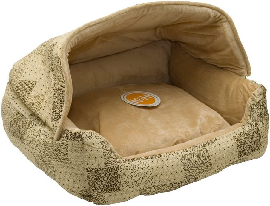"""K&H Pet Products 7600 Hooded Lounge Sleeper Pet Bed Tan Patchwork Print 20"""" x 25"""" : Pet Supplies"""