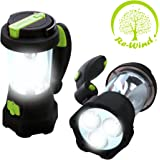 NEW Re-Wind Wind-Up Rechargeable Portable LED Torch Flashlight and Lantern with USB Charging Port (Cable Included) - No Batteries Required - High Power 3x LED Torch Beam, 10x LED Lantern, 5x Flashing Red Emergency LEDs