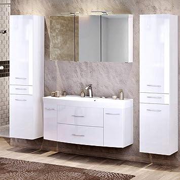 Lomadox Badezimmer Waschplatz Set In Hochglanz Weiß 120cm