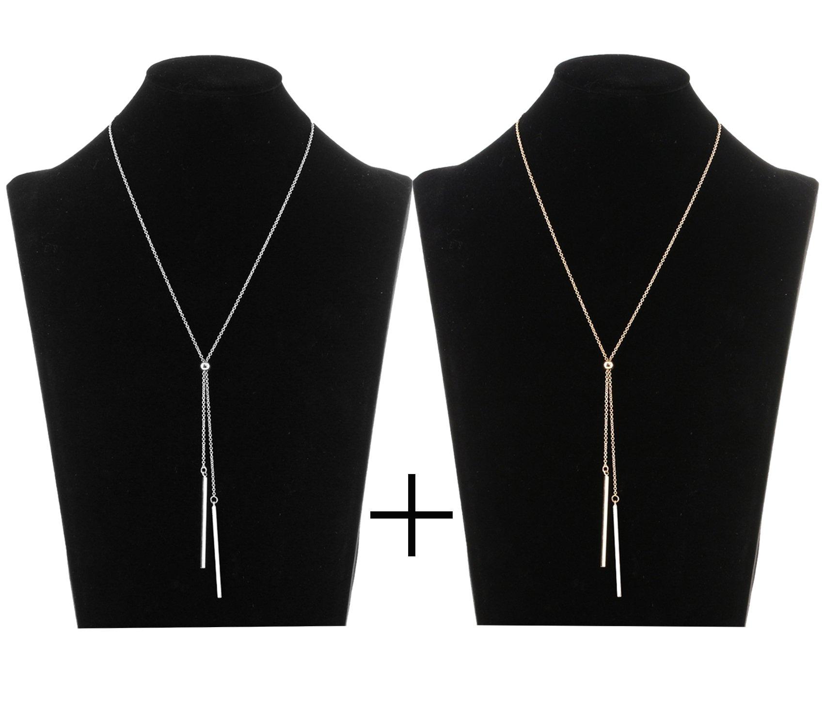 Lariatneck Long Tassel Necklace Bar Y Lariat Long Chain Drop Adjustable Necklace for Women (Gold Silver(set))