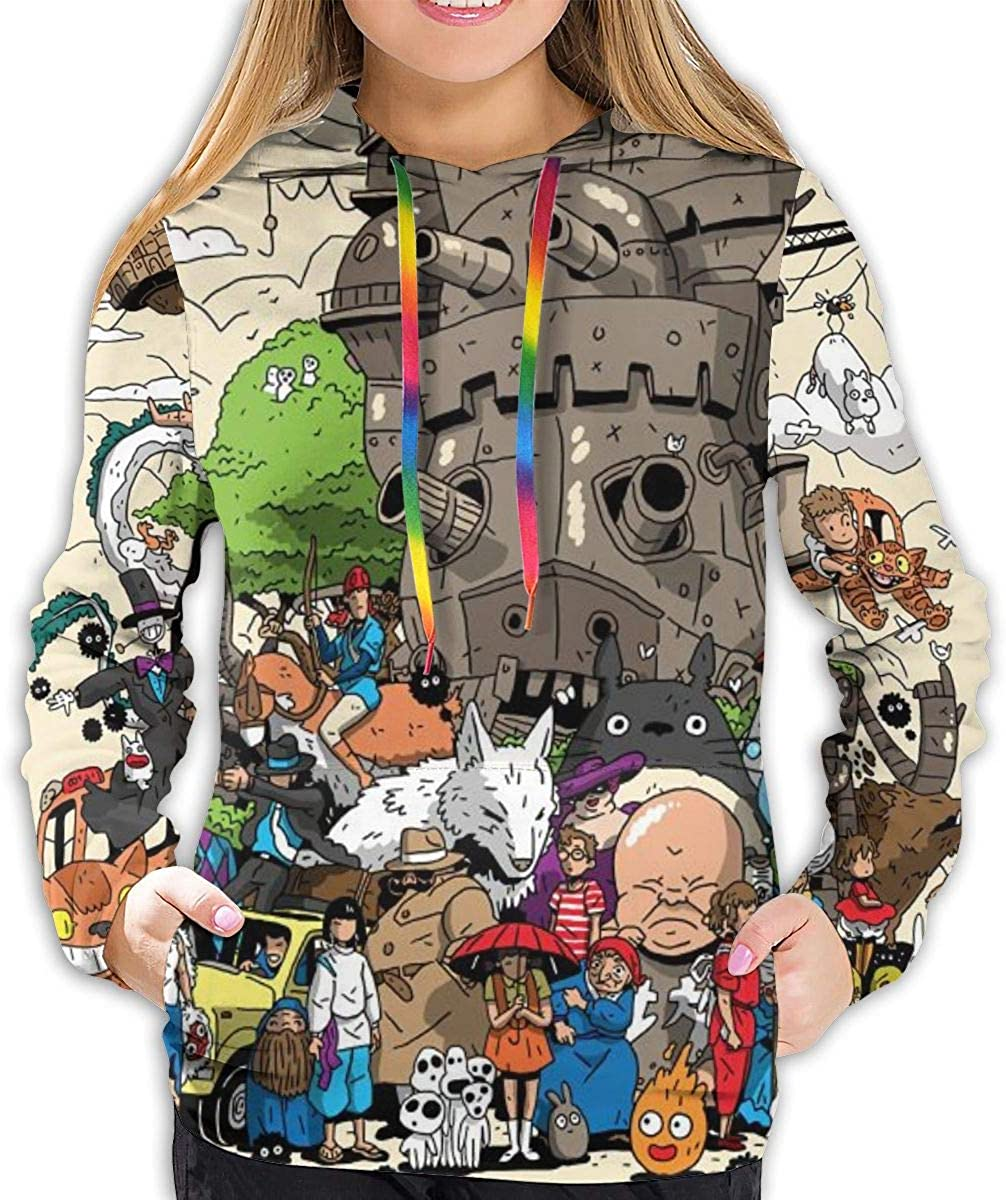 Womens Casual Hayao Miyazaki Full Size Printing Pocket Hoodies