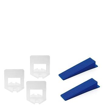 Lantelme 6771 Fliesenverlegehilfe 2 mm Fliesen Montage - Nivelliersystem - Verlegesystem - Verlegehilfe Mit je 100 St. Zuglas