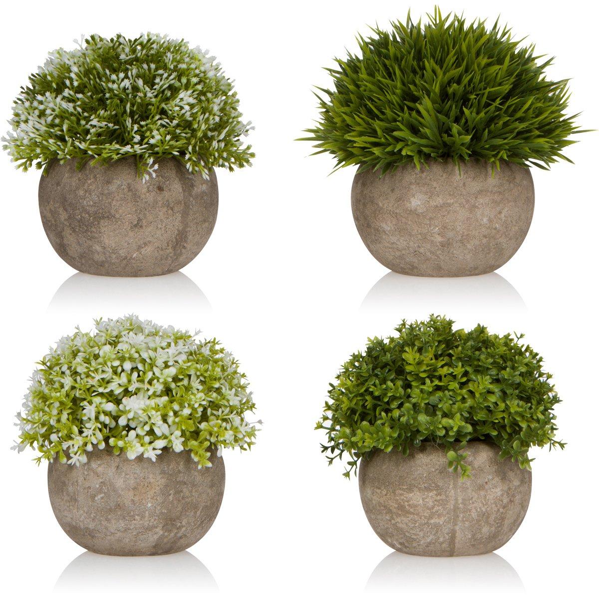 West Dwelling Mini Potted Plants - Small Fake Artificial Succulents For Decoration - Office Desk Home Succulent Plant Decor - Round Pots - Set of 4