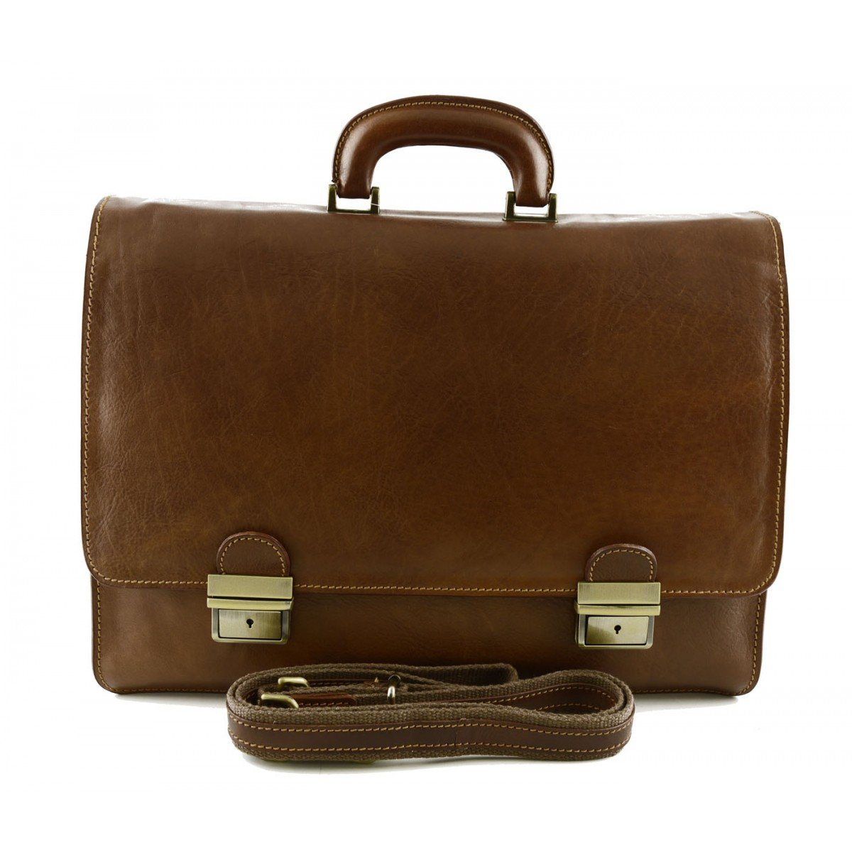 Made In Italy Genuine Leather Business Bag Color Brown - Business Bag B01MYFFWNP