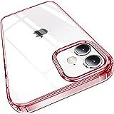 Elando Capa transparente compatível com iPhone 12/12 Pro, não amarela, à prova de choque, fina, 15,5 cm, vermelho transparent