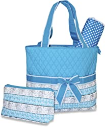 f4478fe4cc7 Ever Moda Elephant Print Quilted Diaper Bag (Blue)